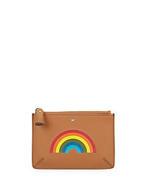 Rainbow-Print Leather Pocket Pouch