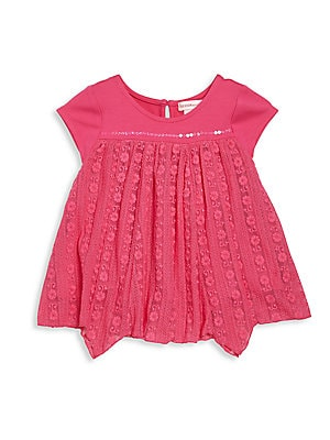 Toddler's & Little Girl's Floral Lace Top