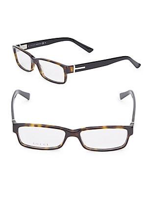 gucci female 211468 63mm tortoise rectangular eyeglasses