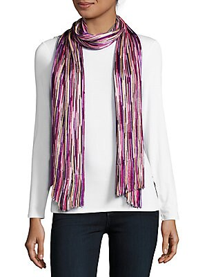 Patterned Fringed Scarf