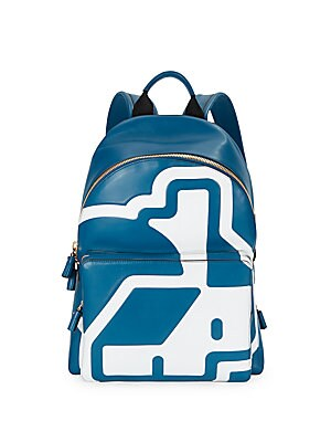 Abstract Printed Leather Backpack