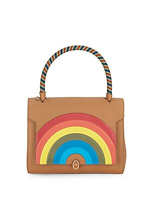 Rainbow Patch Leather Crossbody Bag
