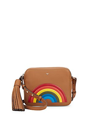 Rainbow Zip-Top Leather Pouch