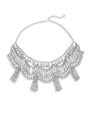 Beads & Chainlink Tassel Statement Necklace