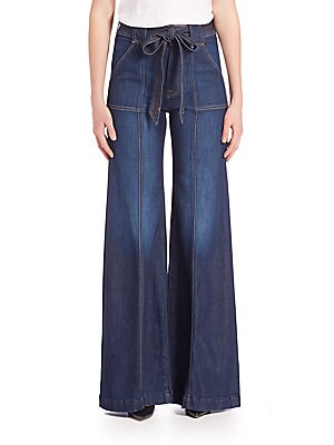 Self-Tie Belted Palazzo Jeans