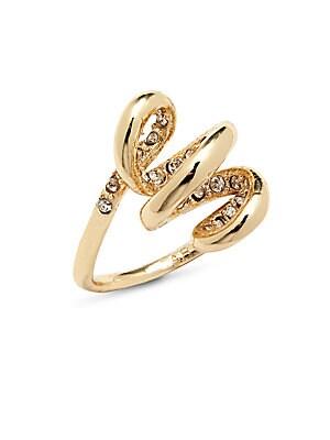 Swarovski Crystal & 10K Gold-Plated Cocktail Ring