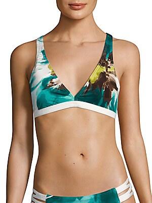Poppy Print Bikini Top