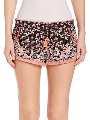 Iconic Lulu Printed Fringe Hem Shorts