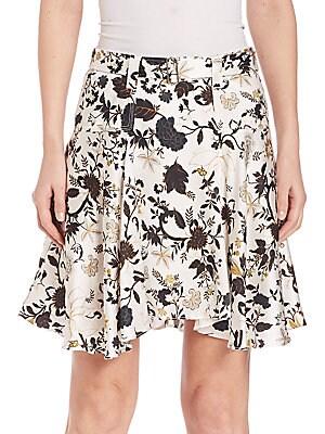 Brien Silk Blend Floral Skirt
