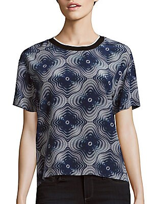 Medallion Print Silk Top