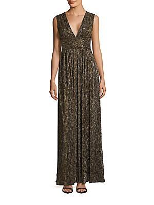 Sleeveless Metallic Gown