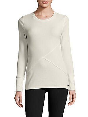 Ribbed Cotton-Blend Solid Pullover