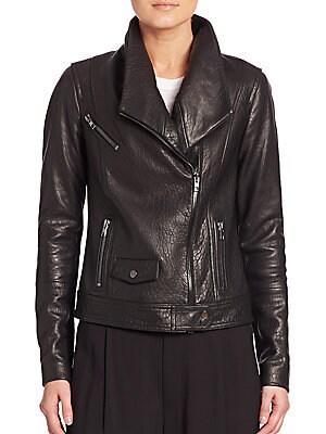 Oversized Collar Leather Moto Jacket