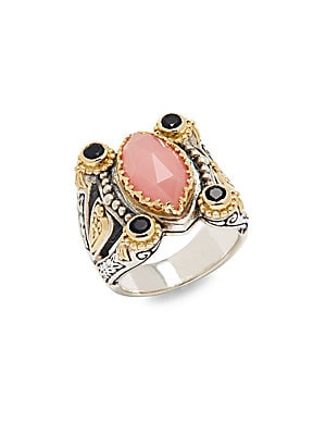 Guava Agate, Black Onyx & 18K Yellow Gold Ring