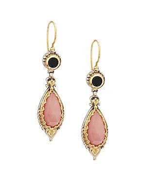 Amphitrite Agate, Onyx, 18K Yellow Gold & Sterling Silver Earrings