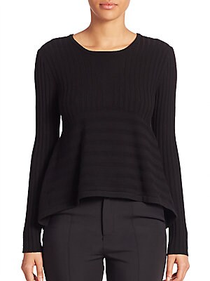 Linear Delta Peplum Sweater