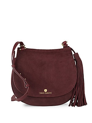 Tasseled Leather Saddle Bag