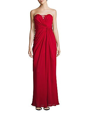 Silk Strapless Drape Gown