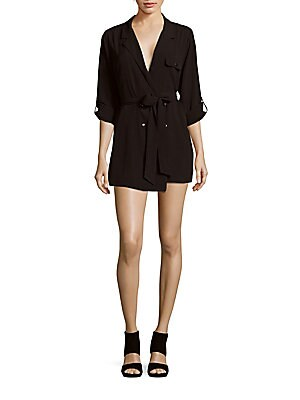 Notch Collar Short Jumpsuit
