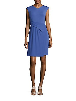 Solid V-Neck Sheath Dress