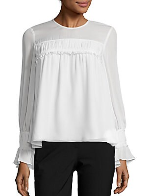Monarch Silk Ruffle Top