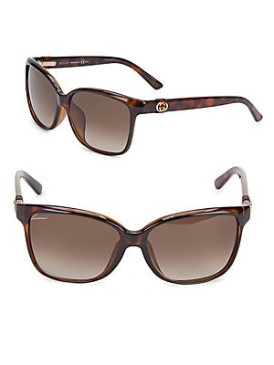 gucci female 188971 55mm squared tortoise sunglasses