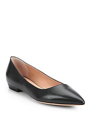 Asymmetrical Leather Ballet Flats