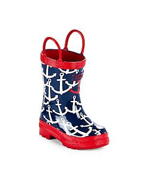 Unisex Anchor Print Rain Boots