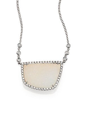 Click here for White Druzy  Diamond & 14K White Gold Pendant Neck... prices