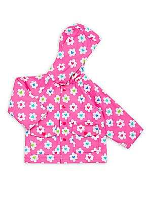 Baby's Floral & Heart Printed Raincoat