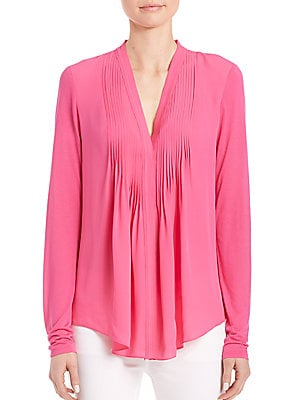Willow Pleated-Front Silk Blouse