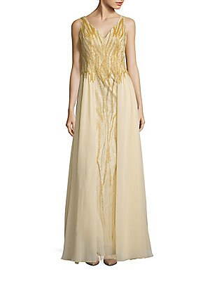 Sleeveless Beaded Gown