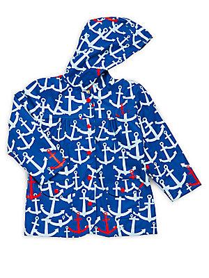 Little Girl's Anchor Printed Long-Sleeve Raincoat