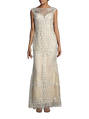 Embroidered Sleeveless Gown