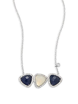 Click here for Diamond, Blue Sapphire, Chalcedony & 14K White Gol... prices