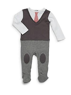 Baby's Colorblock Tie Footie