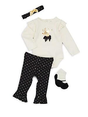 Baby's Four-Piece Printed Headband, Bodysuit, Pants & Socks Set