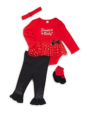 Baby's Four-Piece Headband, Bodysuit, Pants & Socks Set