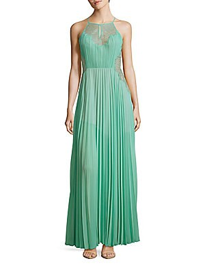 Misty Lace-Blocked Pleated Gown
