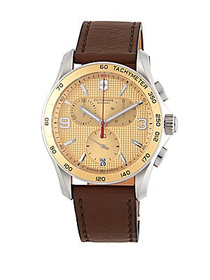 Stainless Steel & Leather Strap Chronograph Watch