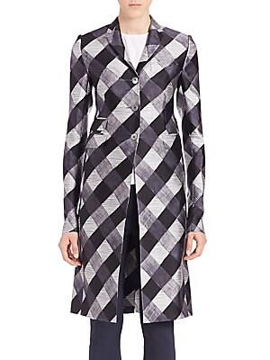 Silk-Blend Check Coat
