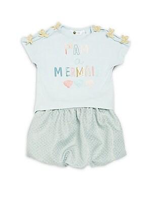 Little Girl's Cutout Mermaid Tee and Bubble Skirt Set