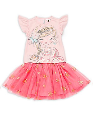 Little Girl's Mermaid Graphic Tee and Tulle Skirt Set
