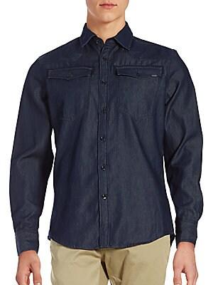Dark Denim Button-Down Shirt