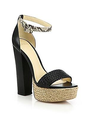 Alicia Braided Leather & Python Espadrille Platform Sandals