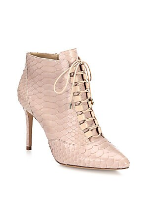 Mally Python Lace-Up Booties