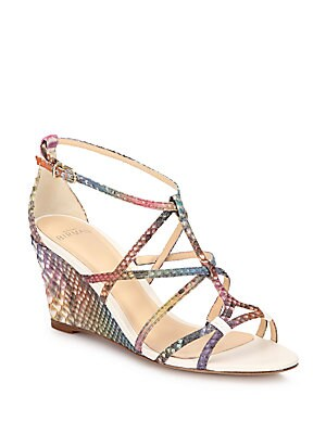 Rainbow Python Demi-Wedge Sandals