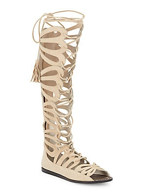 Carolyn Knee-High Leather Gladiator Sandals