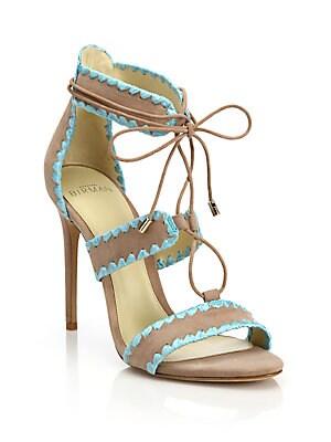 Bel Raffia-Trim Suede Lace-Up Sandals