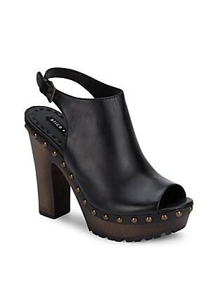 Sharon Leather Peep-Toe Sandals